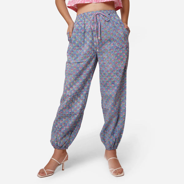Front View of a Model wearing Handblock Printed Cotton Harem Pant