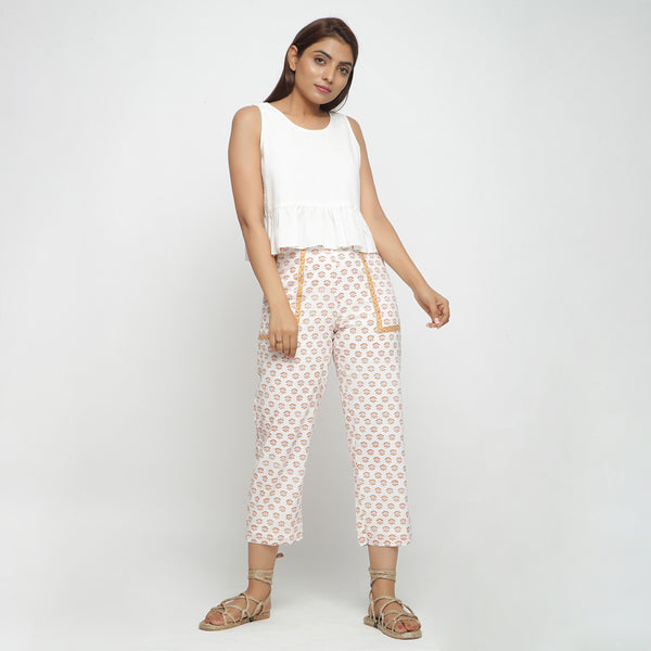 Front View of a Model wearing Handblock Printed Floral Straight Pants