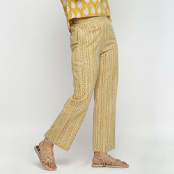 Right View of a Model wearing Mustard Bagru Block Print Straight Pant