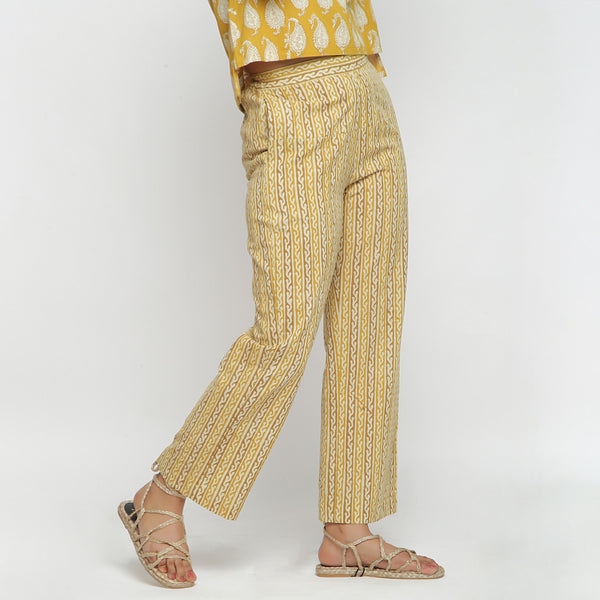Right View of a Model wearing Handblock Printed Mustard Straight Pant