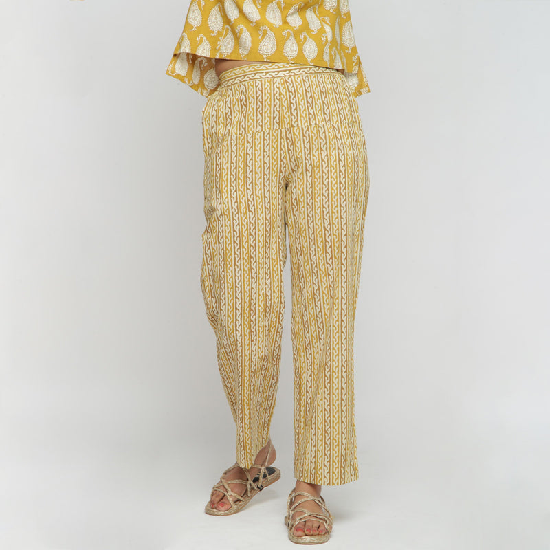 Front View of a Model wearing Mustard Bagru Block Print Straight Pant
