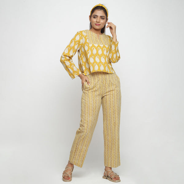 Front View of a Model wearing Handblock Printed Mustard Straight Pant