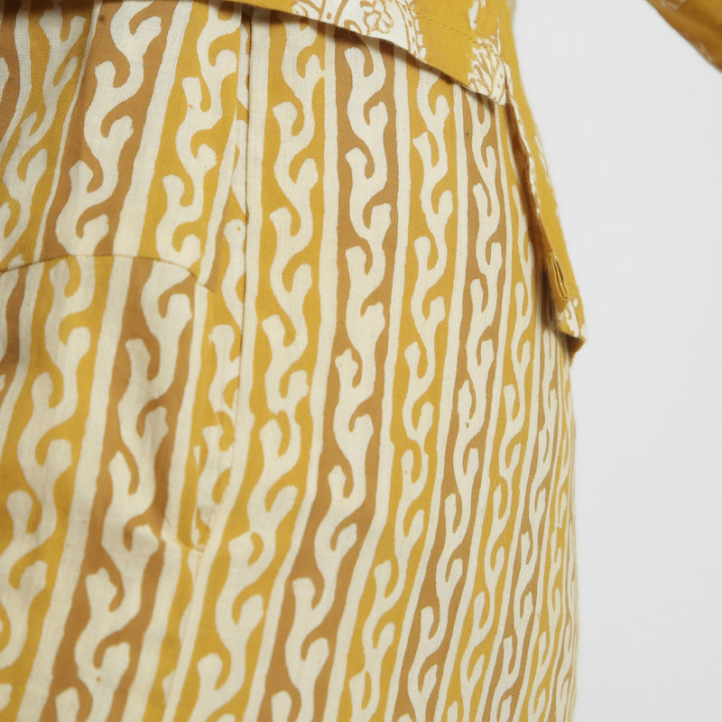 Close View of a Model wearing Mustard Bagru Block Print Straight Pant