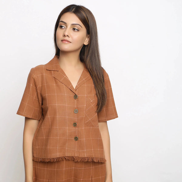 Front View of a Model wearing Handspun Brown Fringe Button-Down Shirt