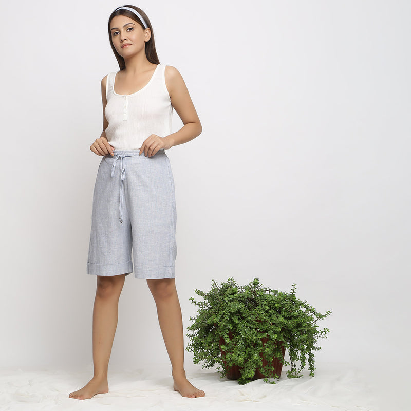 Front View of a Model wearing Handspun And Handwoven Cozy Bermuda Shorts