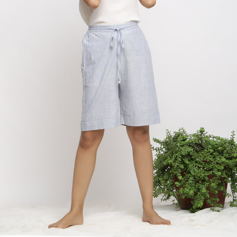 Front View of a Model wearing Sky Blue Handspun Cozy Bermuda Shorts
