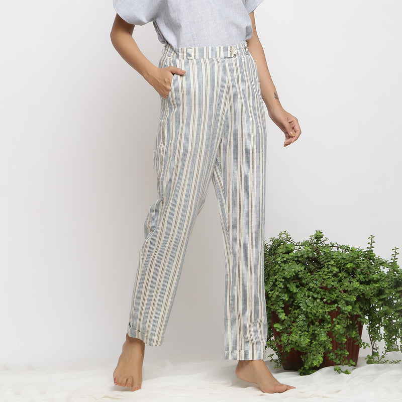 Front View of a Model wearing Handspun Cotton Striped Tapered Pant