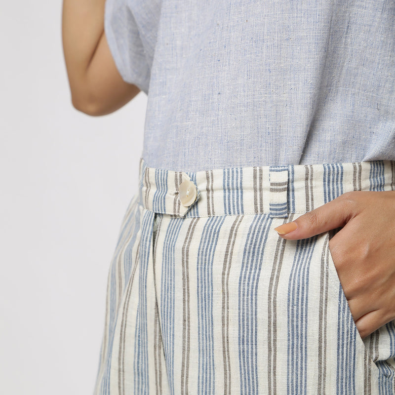 Left Detail of a Model wearing Handspun Cotton Striped Tapered Pant