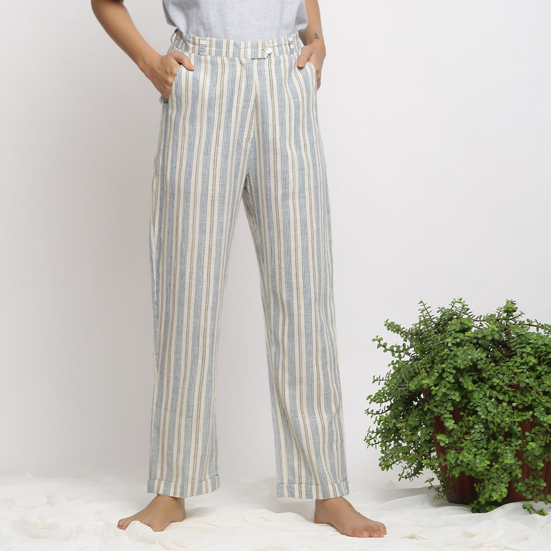 Front View of a Model wearing Handspun And Handwoven Tapered Pant