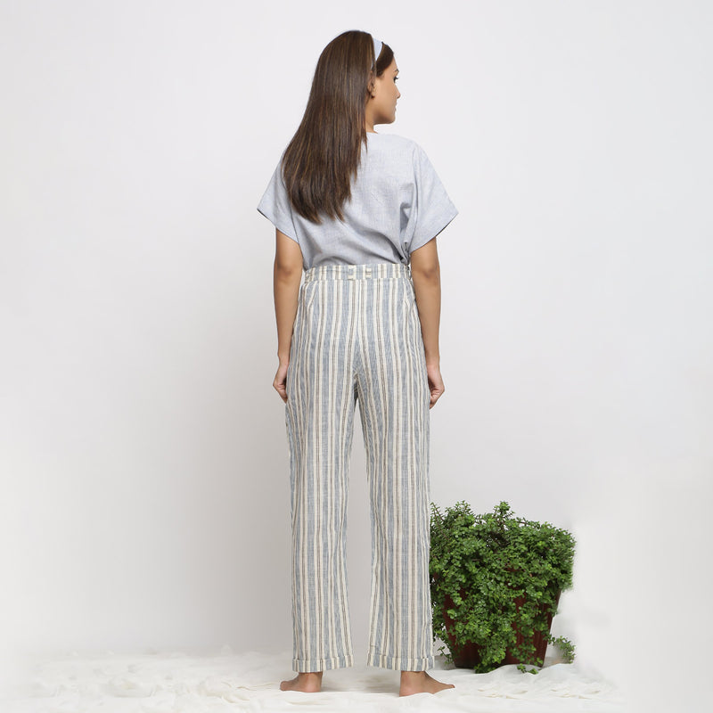 Back View of a Model wearing Handspun Cotton Striped Tapered Pant