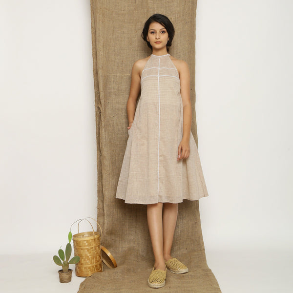 Front View of a Model wearing Handspun Cotton Lace Paneled Dress