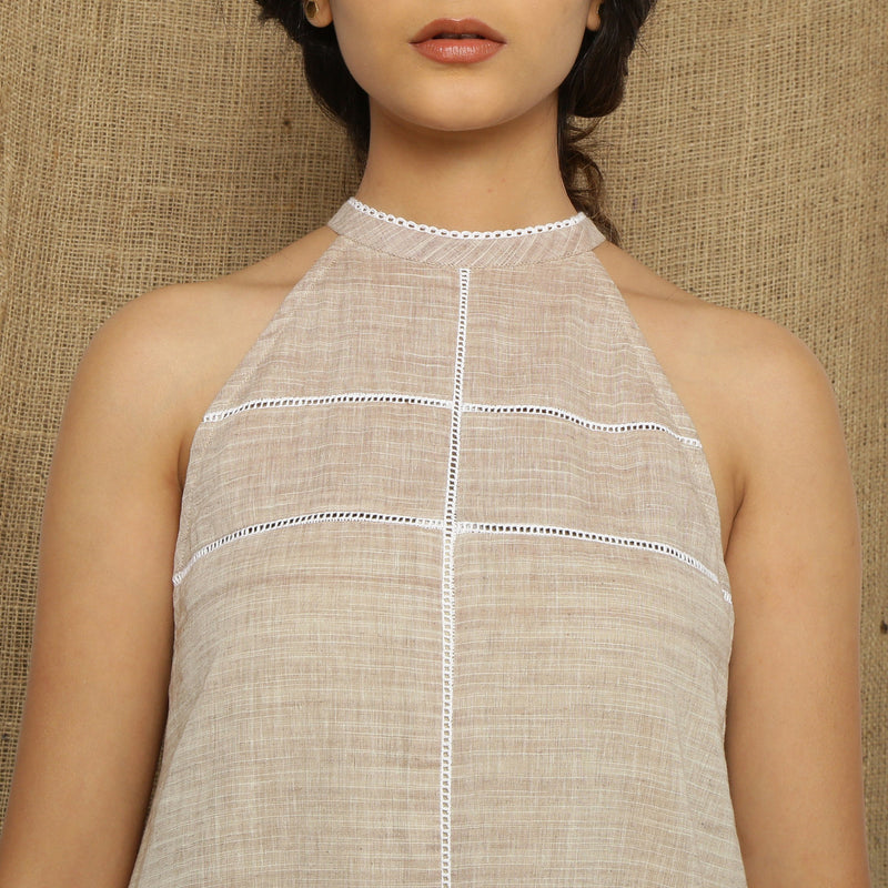 Front Detail of a Model wearing Handspun Cotton Lace Paneled Dress