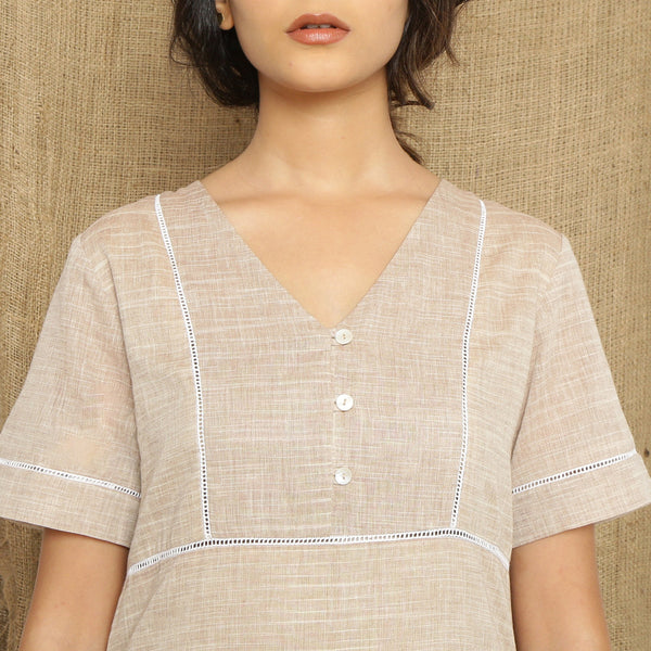Front Detail of a Model wearing Handspun Cotton Lace Yoked Dress