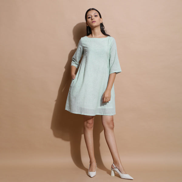 Front View of a Model wearing Handspun Cotton Muslin A-Line Dress