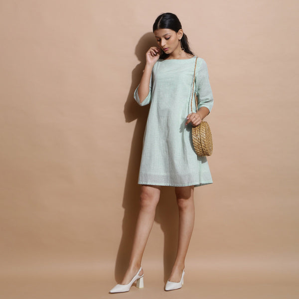 Front View of a Model wearing Handspun Cotton Muslin A-Line Short Dress
