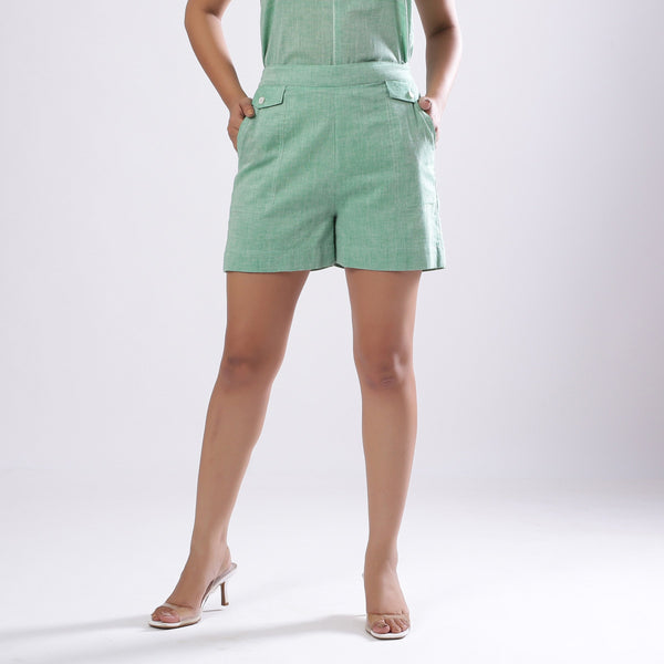 Front View of a Model wearing Cotton Muslin Handspun Short Shorts
