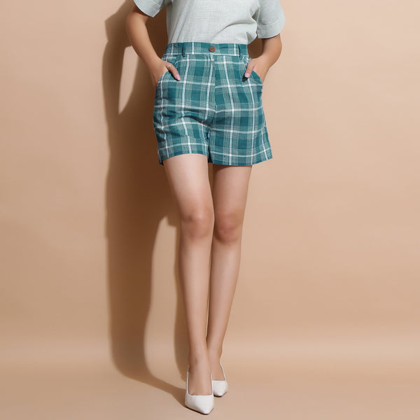 Front View of a Model wearing Bottle Green Handspun Cotton Short Shorts