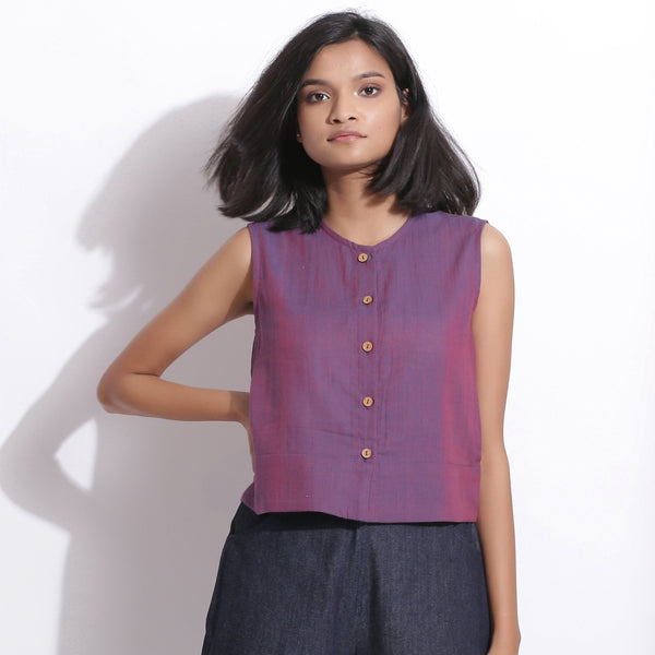 Front View of a Model wearing Handspun Cotton Violet Button-Down Shirt
