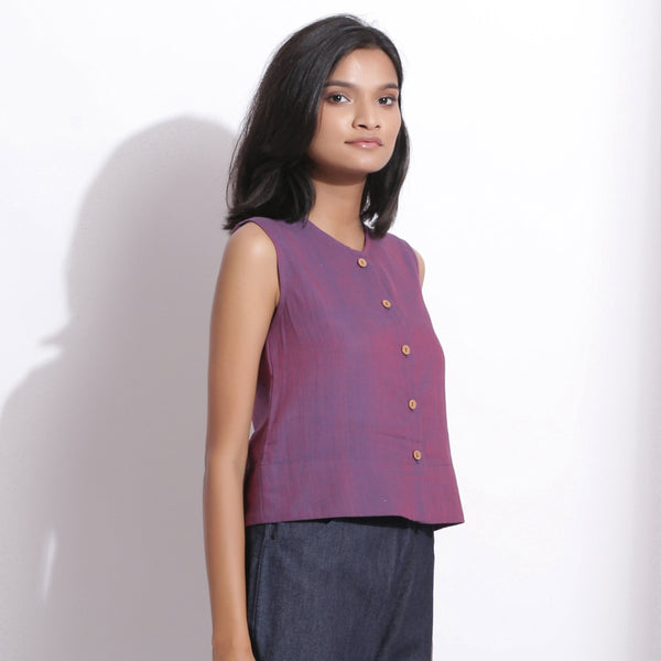 Right View of a Model wearing Handspun Cotton Violet Button-Down Shirt