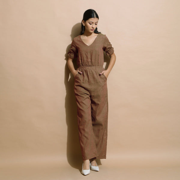 Front View of a Model wearing Handspun Frilled Sleeve Straight Jumpsuit
