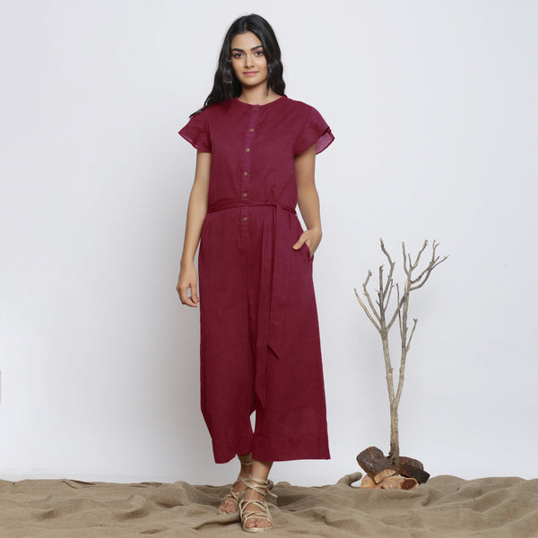 Front View of a Model wearing Handspun Maroon Butterfly Sleeves Jumpsuit