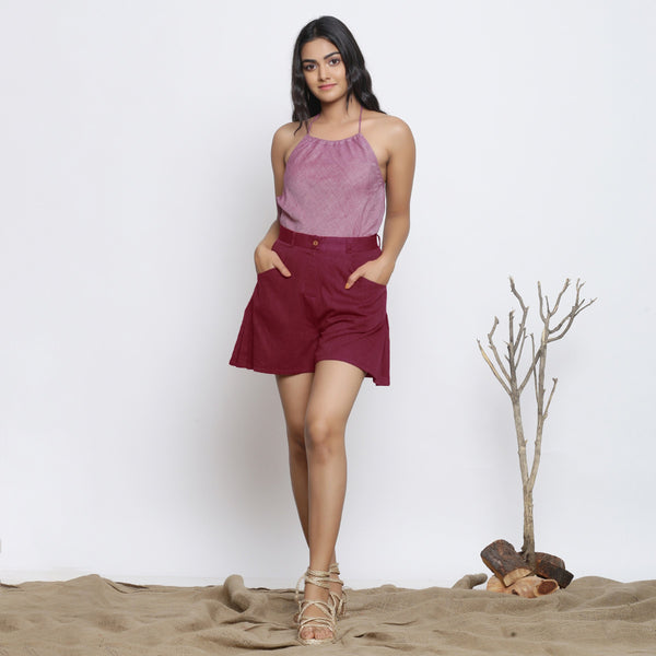 Front View of a Model wearing Handspun Maroon Flared Shorts