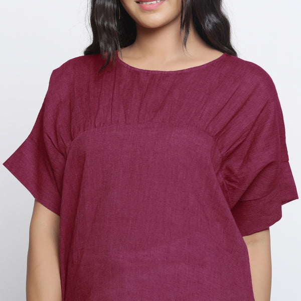 Front Detail of a Model wearing Handspun Maroon Yoked Top