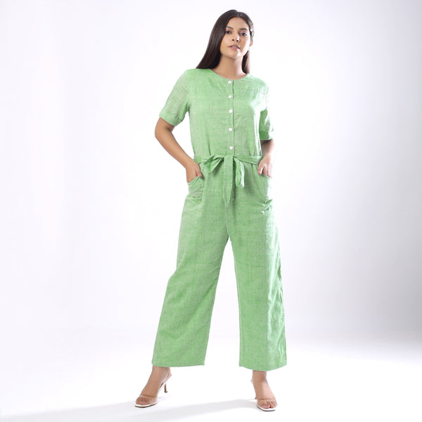 Handspun Mint Green Paneled Button-Down Jumpsuit