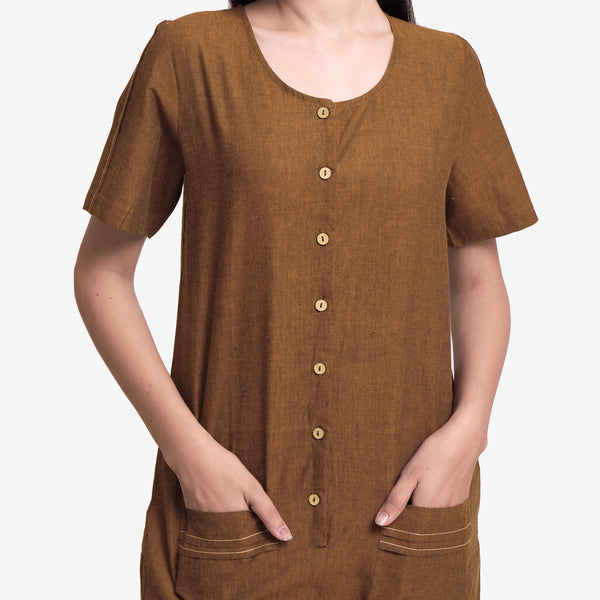 Handspun Oak Brown Button-Down Romper