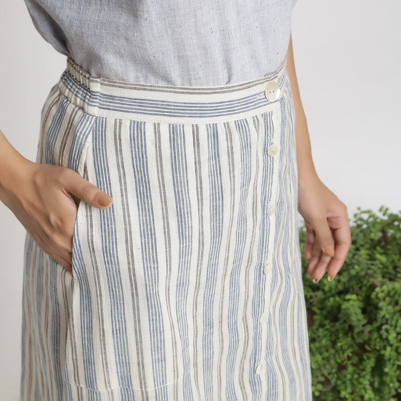 Front Detail of a Model wearing Handspun Off-White Button-Down Skirt