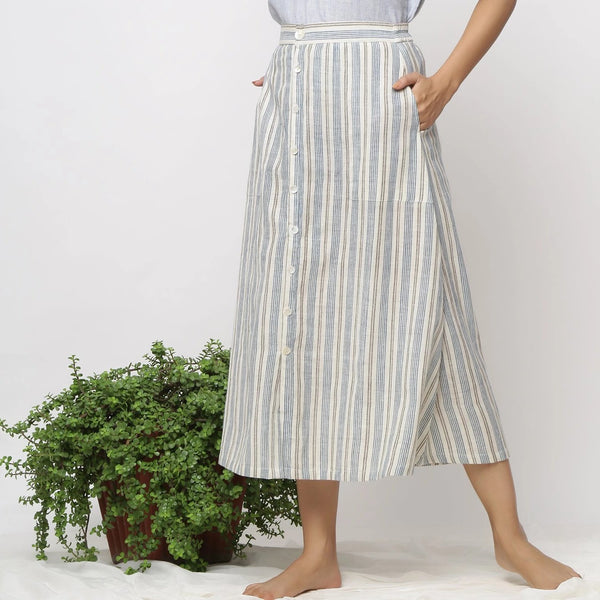 Front View of a Model wearing Handspun Off-White Button-Down Skirt