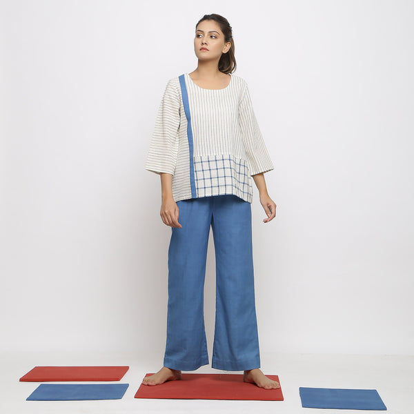 Front View of a Model wearing Handspun Straight Top and Paperbag Pant Set