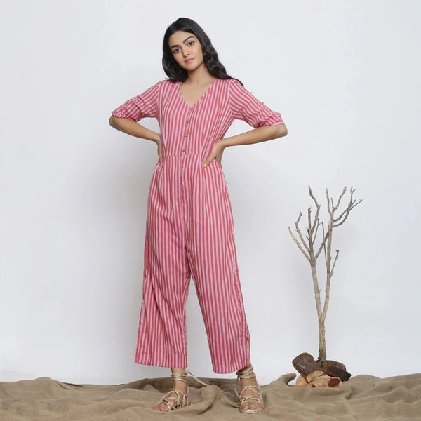 Full View of a Model wearing Handspun Striped V-Neck Jumpsuit