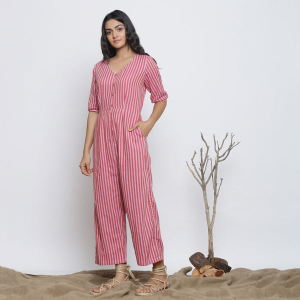 Right View of a Model wearing Handspun Striped V-Neck Jumpsuit