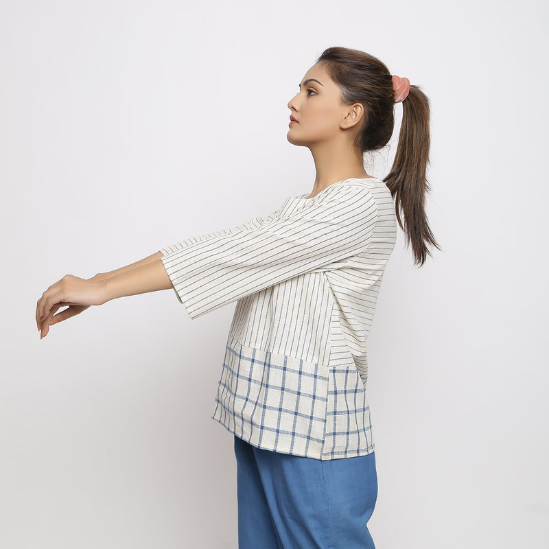 Left View of a Model wearing Handspun Vegetable dyed Straight-fit Top
