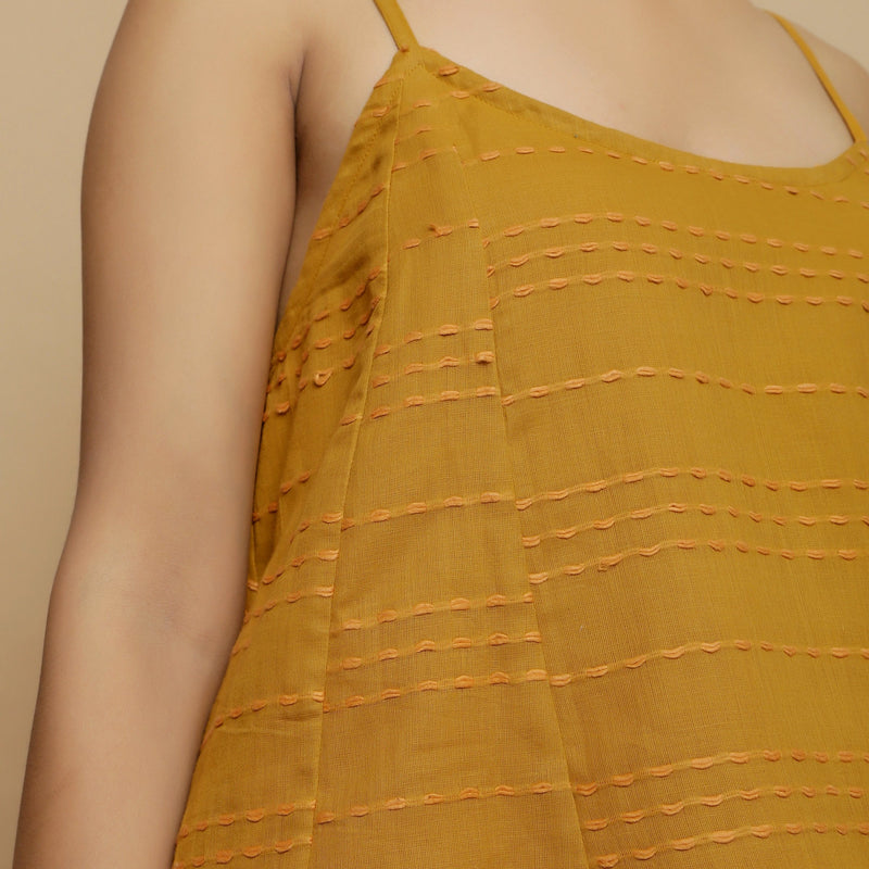 Front Detail of a Model wearing Handwoven Cotton Flared Godet Top