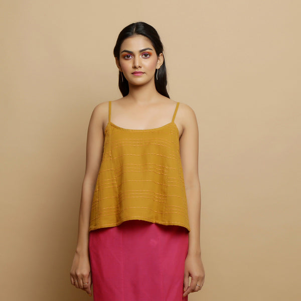 Front View of a Model wearing Handwoven Cotton Flared Godet Top