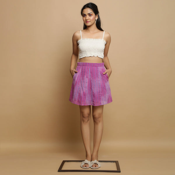 Front View of a Model wearing Handwoven Godet Striped A-Line Skirt
