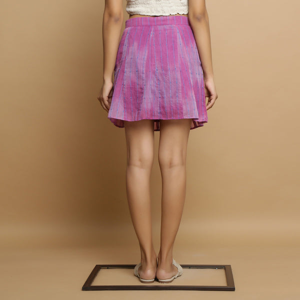 Back View of a Model wearing Handwoven Godet Striped A-Line Skirt
