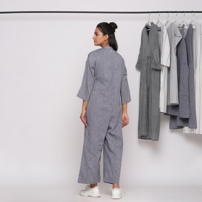 Back View of a Model wearing Handspun Charcoal Grey Straight Jumpsuit