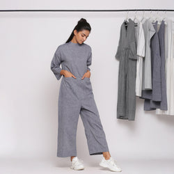 Front View of a Model wearing Handspun Charcoal Grey Straight Jumpsuit