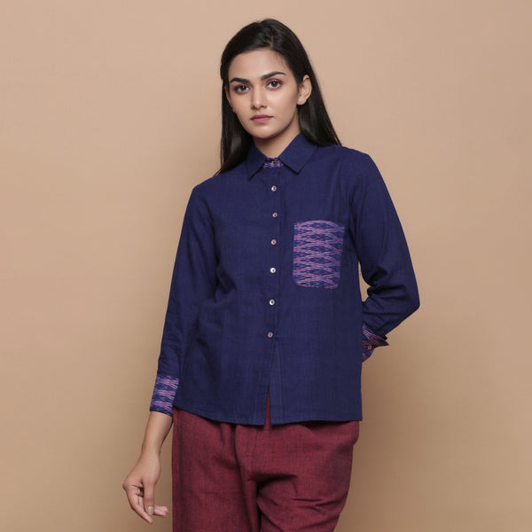 Front View of a Model wearing Ikat Handspun Cotton Navy Blue Shirt