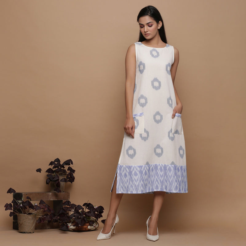 Ikat Off-White Cotton Shift Dress