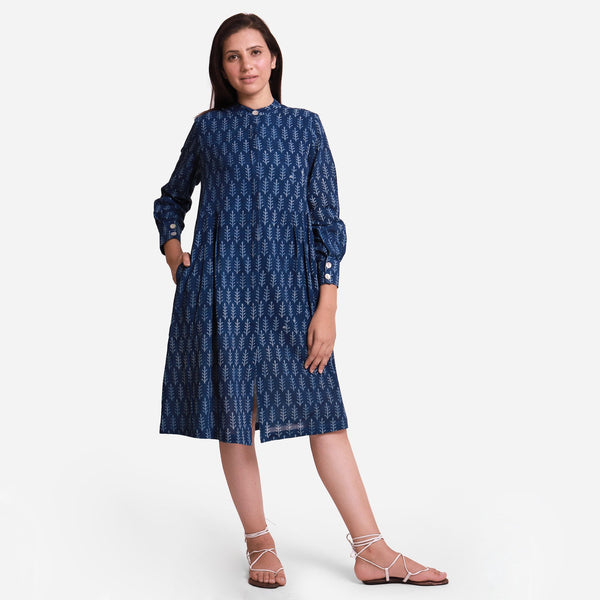 Front View of a Model wearing Indigo Dabu Block Print Button-Down Dress