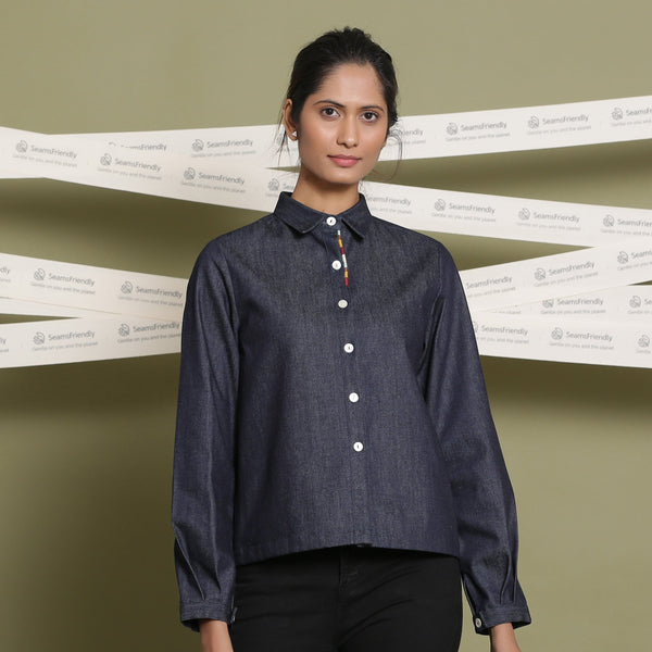 Front View of a Model wearing Indigo Cotton Denim Button Down Shirt