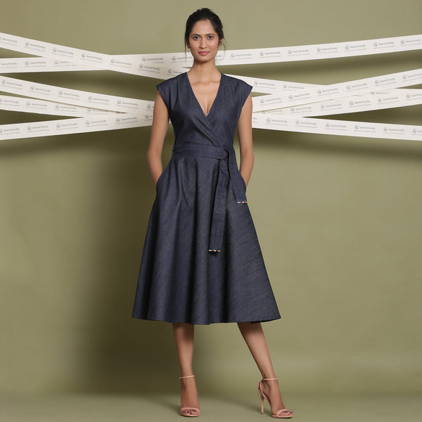 Front View of a Model wearing Indigo Cotton Denim Fit and Flare Dress