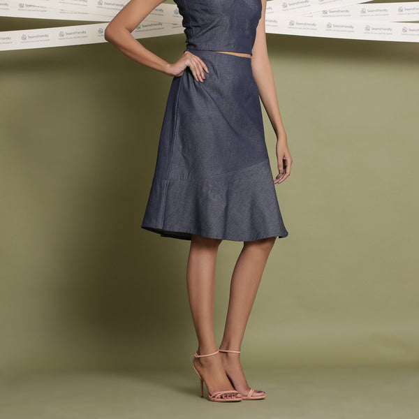 Front View of a Model wearing Indigo Cotton Denim Paneled A-Line Skirt