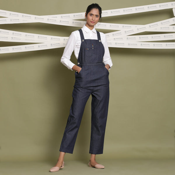 Front View of a Model wearing Indigo Cotton Denim Slim Fit Dungaree
