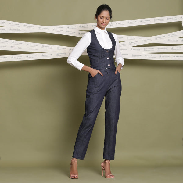 Front View of a Model wearing Indigo Cotton Denim Slim Fit Vest