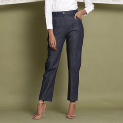 Front View of a Model wearing Indigo Cotton Denim Tapered Pant